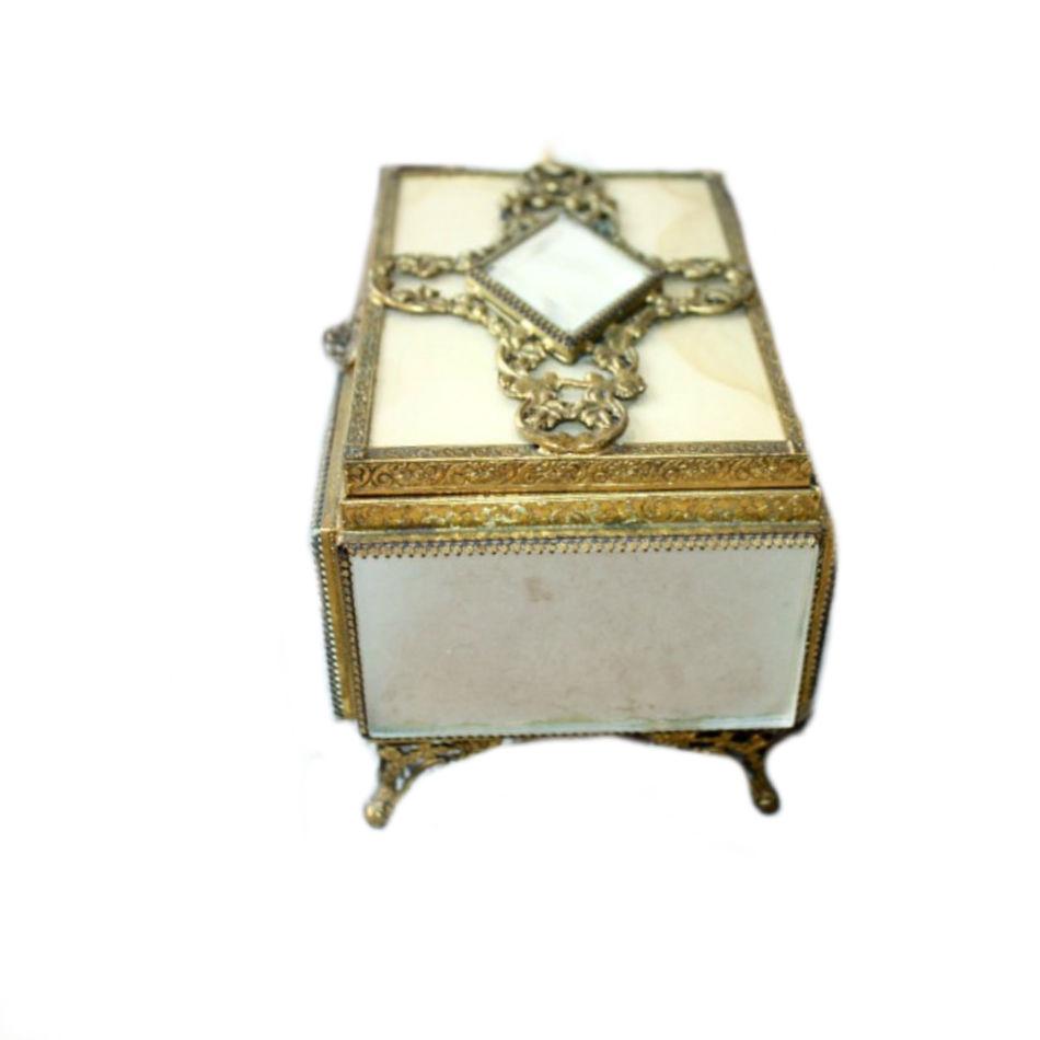 Gilt Satin Glass Gold Plated Jewelry Casket Box