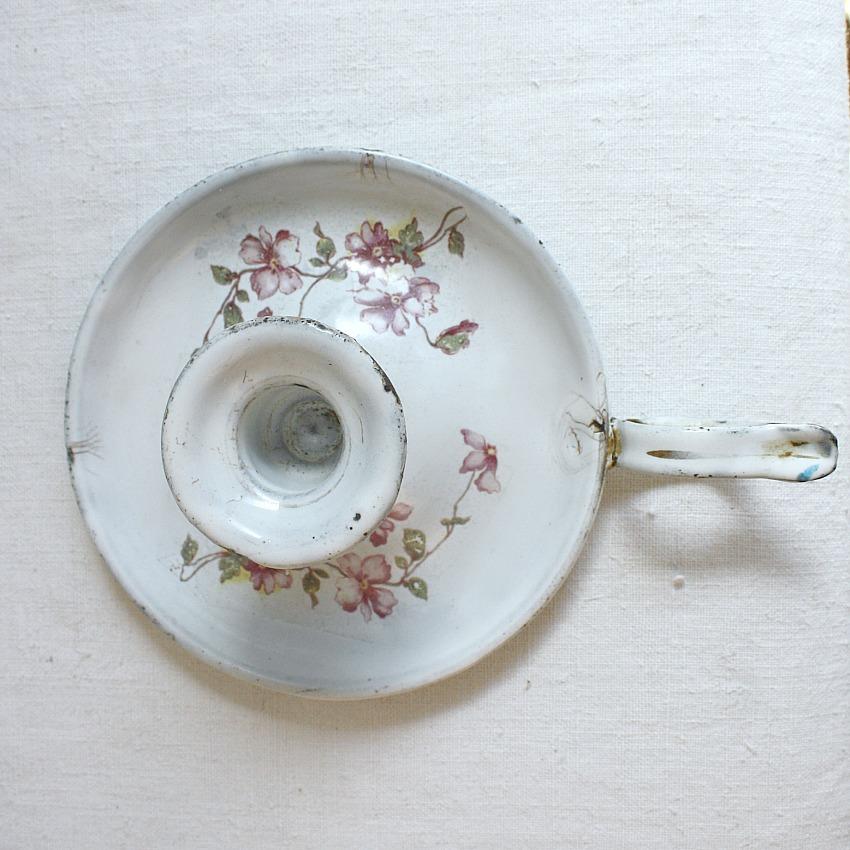 Antique French Pink Floral Enameled Candle Holder