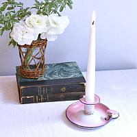 Antique French Shabby Pink Enameled Candle Holder