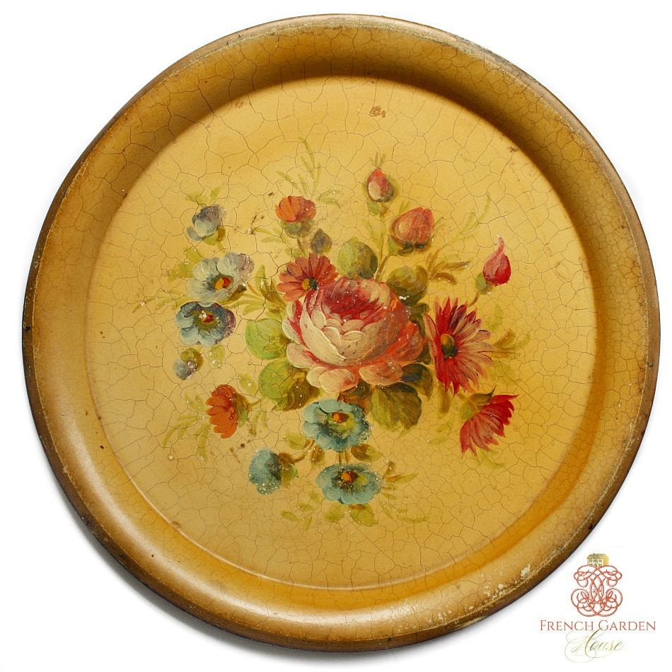 Antique French Country Tole Peinte Tray Round Roses