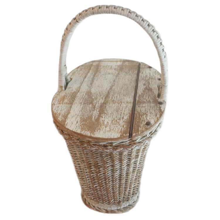 Aged White Wicker Market Basket with Planked Top