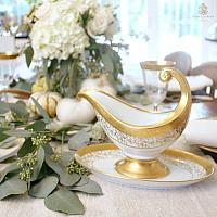 Stunning 24kt Gold Encrusted Fine Luxury Gravy Boat