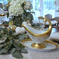 Vintage 24kt Gold Encrusted Fine Luxury Gravy Boat