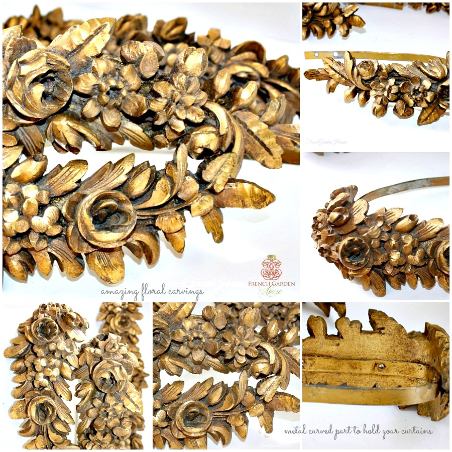 Antique Gilt Wood Hand Carved Rose Floral Curtain Tie Backs