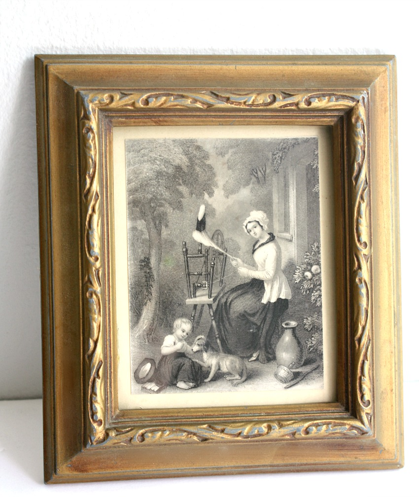 Antique Small Framed Print Spinning Woman Child and Dog