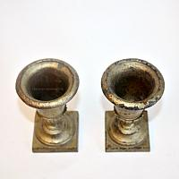 19th Century French Miniature Cast Iron Urns Pair