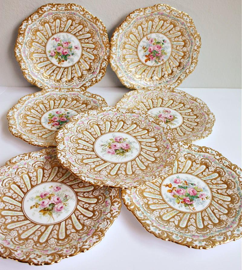 Antique Hand Painted Gilt Encrusted Copeland Dessert Plates Set of 6