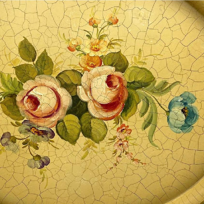 French Country Hand Painted Tole Peinte Tray Roses