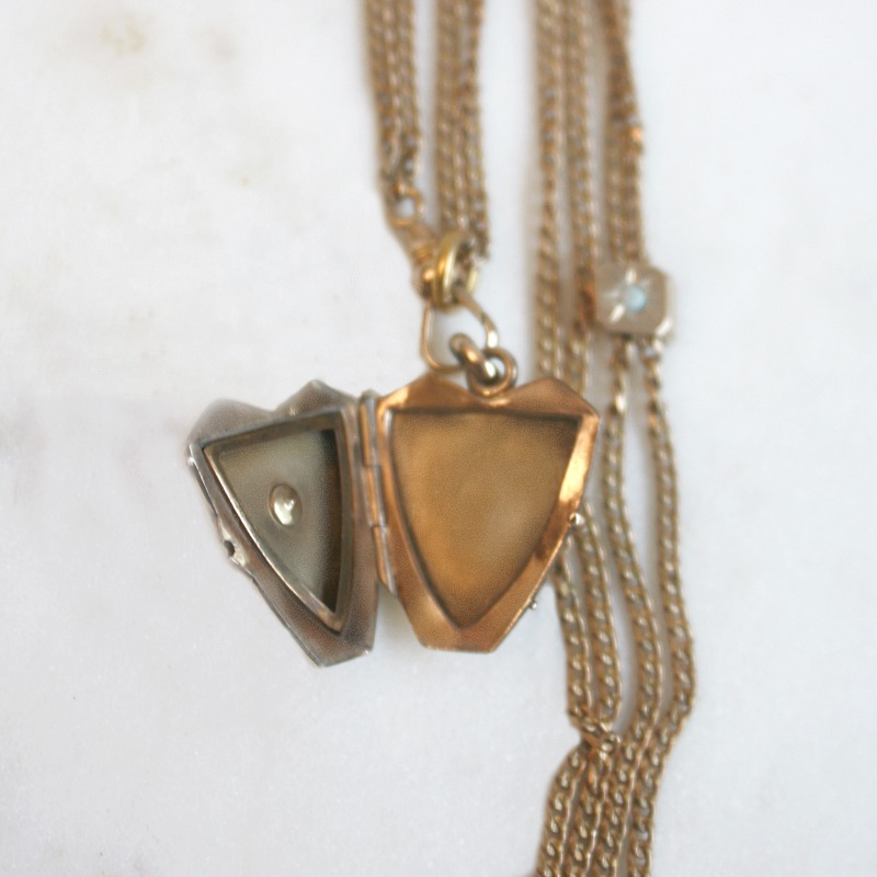 Antique Gold Filled Heart Locket with Opal and Slide Necklace