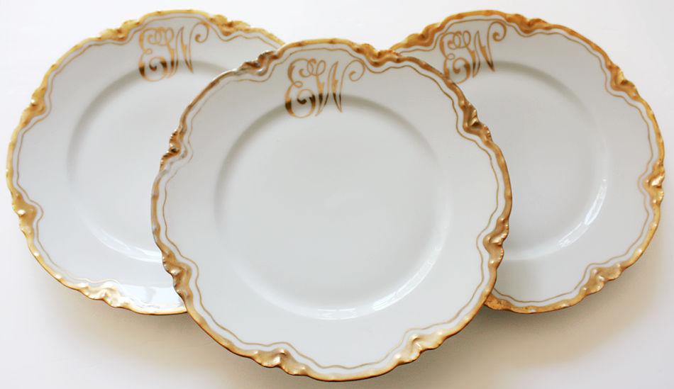 Antique French Limoges Gilt Monogrammed Dinner Plates Set 8