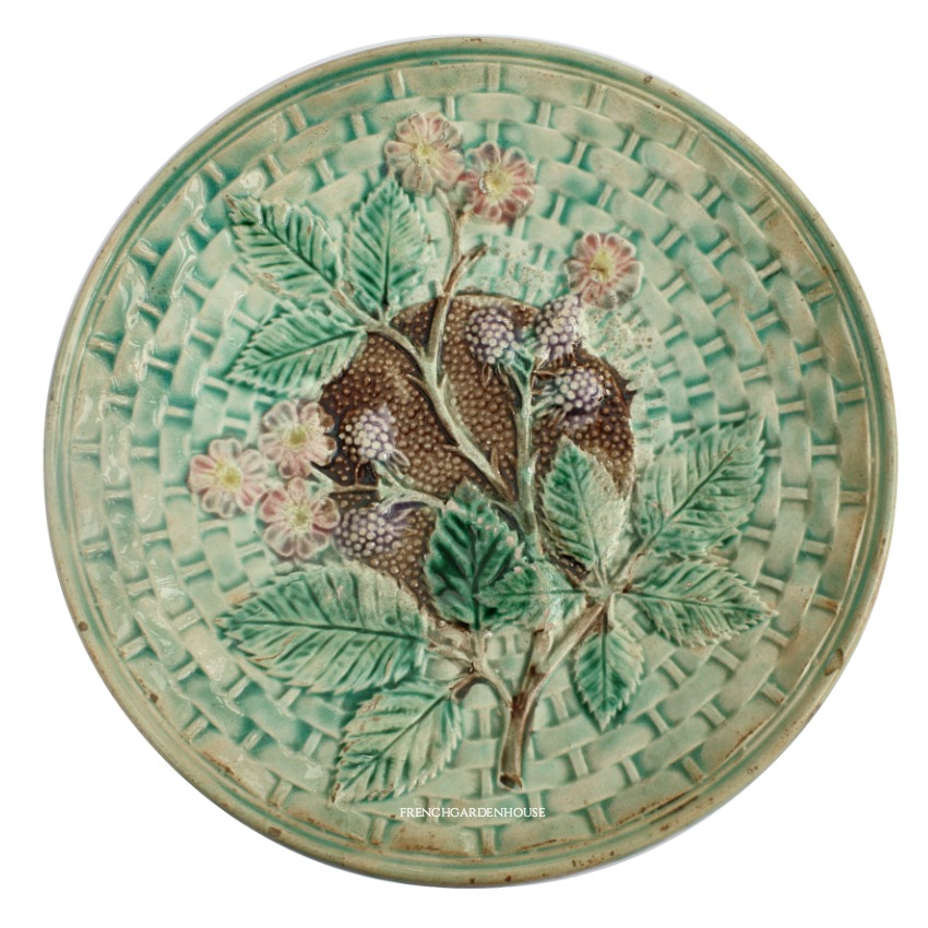 19th Century Antique Green Majolica Plate with Blackberries