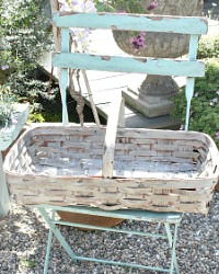 Antique Painted Splint Work Gathering Basket Grey