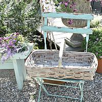Antique Painted Splint Work Gathering Basket