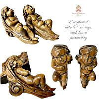 19th Century French Carved Wood Cherubs