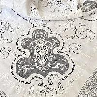 Heirloom Antique Hand Embroidered Lace Flower Basket Square Tablecloth