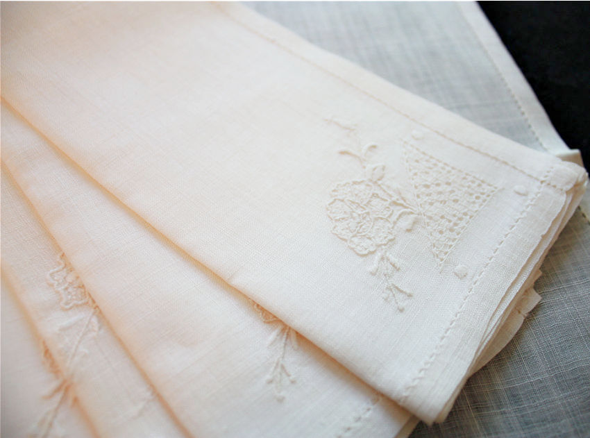 Antique Hand Embroidered Cream Sheer Linen Napkins with Flowers set 12