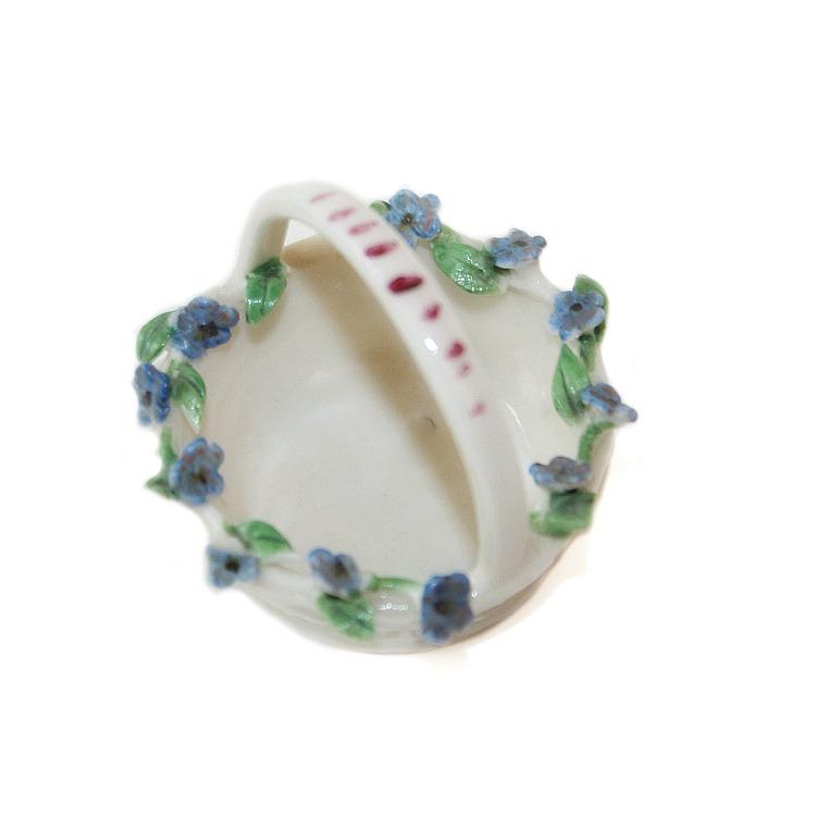 1920's Miniature Porcelain Flower Basket Forget Me Nots