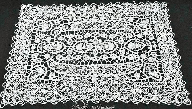 Antique Italian Reticella Needle Lace Table Place Mats Set 4