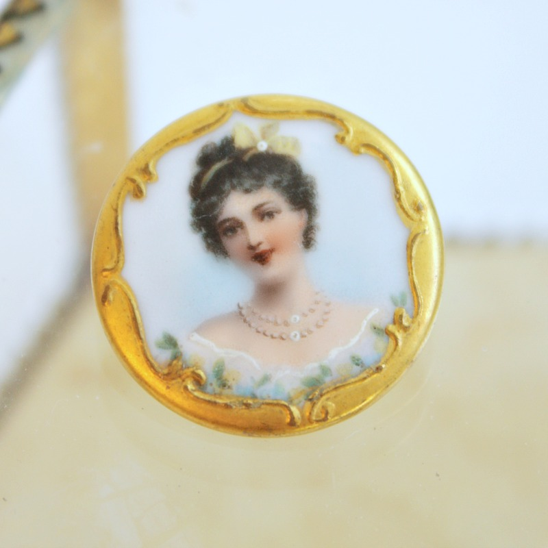 Antique Hand Painted Porcelain Button Lady Portrait