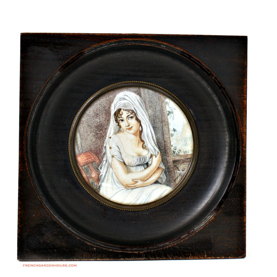 Antique French Signed Hand Painted Portrait Miniature