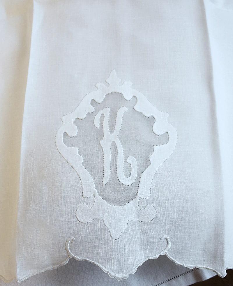 K Monogram Madeira Hand Embroidered Linen Fingertip Towels Pair