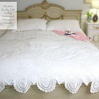 Heirloom Quality 19th Century Whitework Embroidered Coverlet