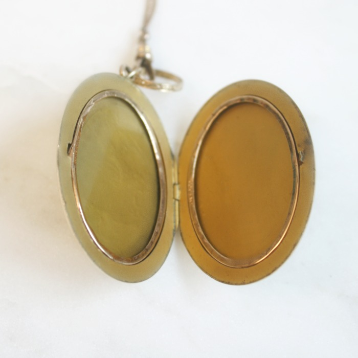 Antique Gold Floral Oval Etched Locket Necklace & Baby Ring