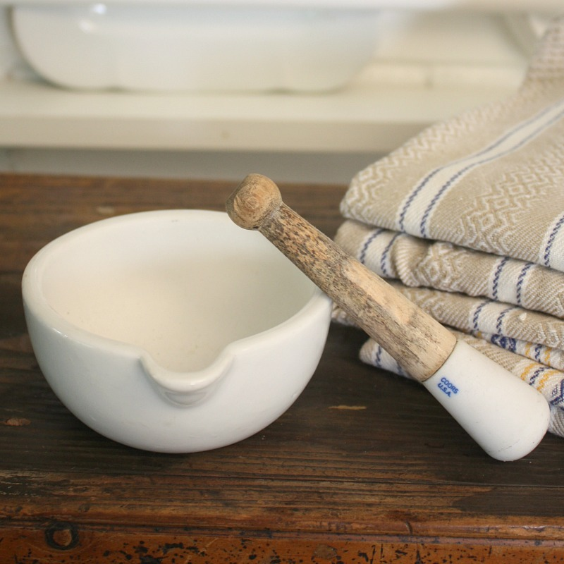 Vintage Ironstone Mortar and Pestle Small