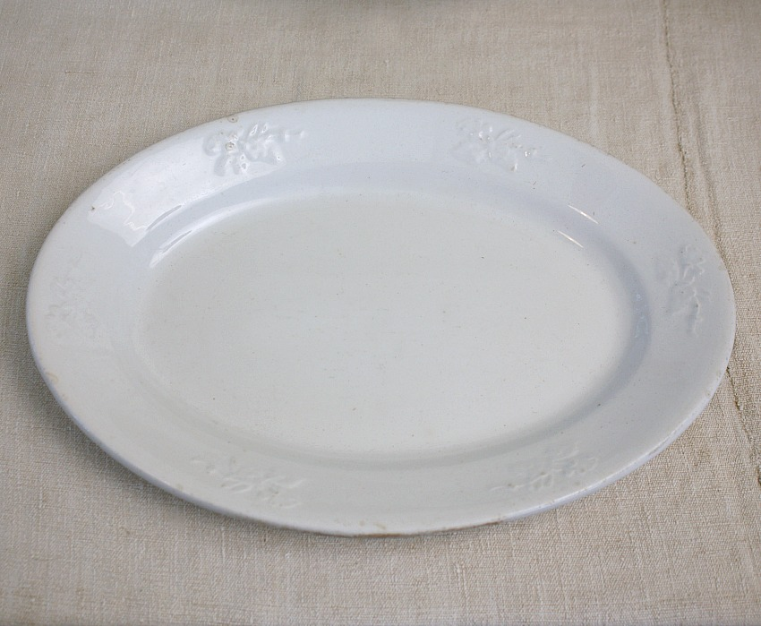 Antique Ironstone Platter with Leaves