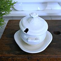 Antique Ironstone Sauce Server with Lid and Underplate