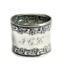 Antique Sterling Repousse Floral Napkin Ring Monogram J C H