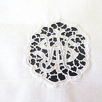 Vintage Linen and Lace Monogrammed Napkins Set of 6