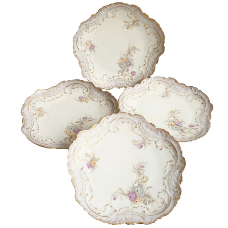 Antique Hand Painted French Limoges Plates Lavender Set of 4