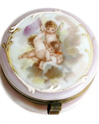 Antique Enameled Opalescent Glass Powder Jar Hand-Painted Putti