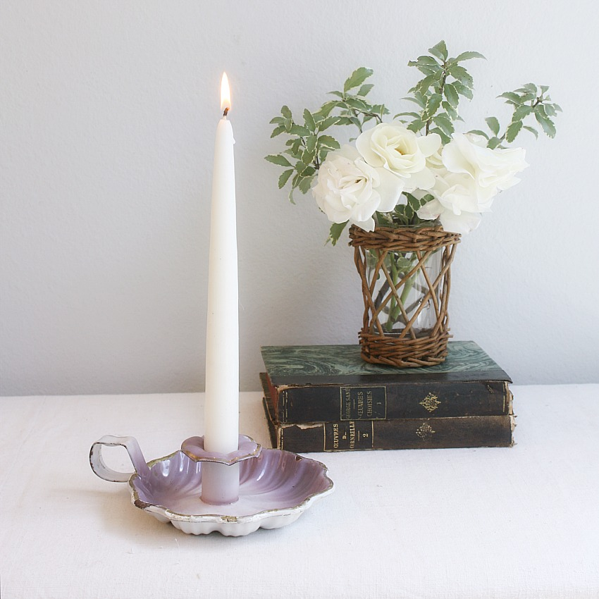 Antique French Lavender Purple Enameled Bougeoir Candleholder
