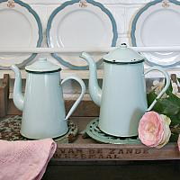 French Mint Green Enamelware Coffee Pot Large