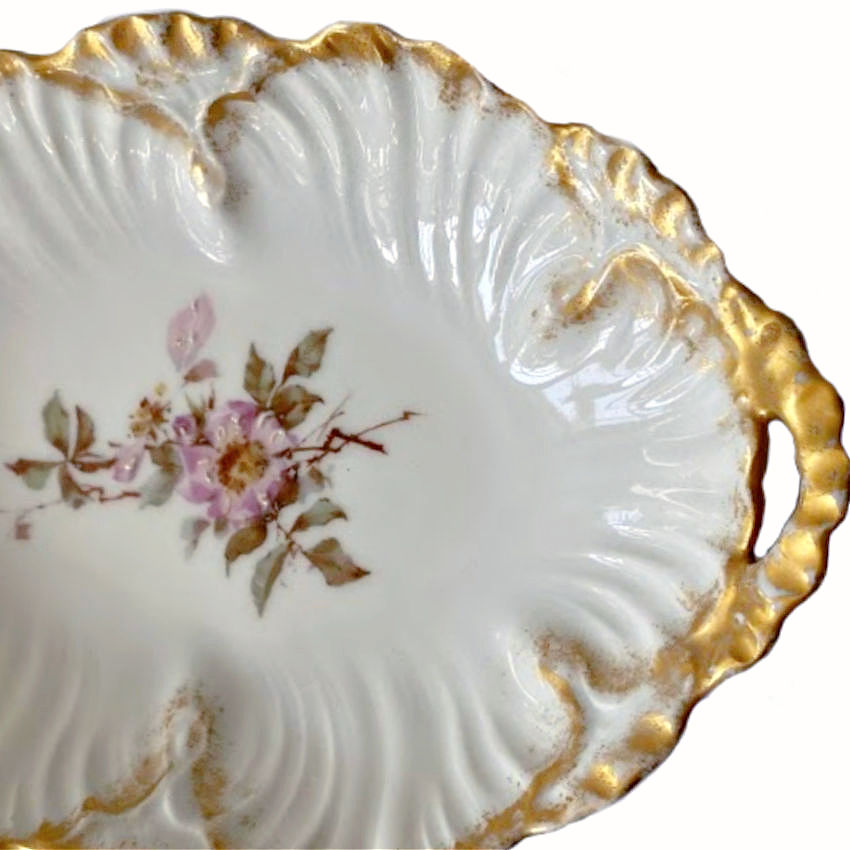 Antique French Hand Enameled Limoges Pink Wild Rose Bonbon Dish