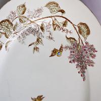 Large Antique French Limoges Floral and Birds Platter