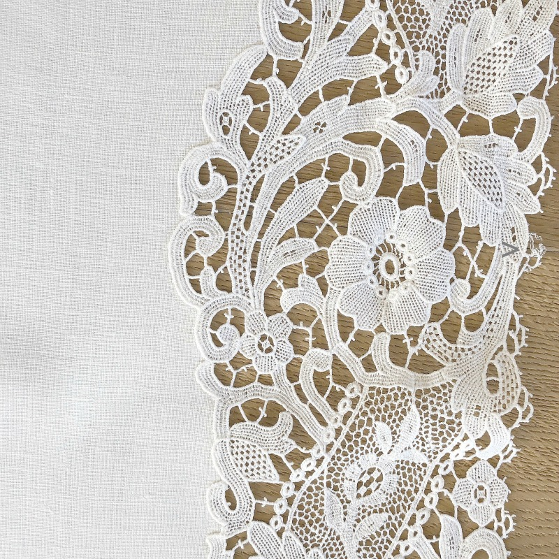Pristine White Linen and Floral Guipure Lace Table Runner
