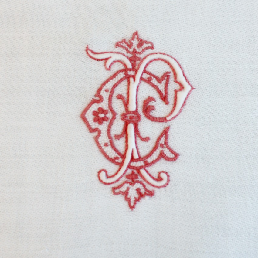 2 Antique French Large Damask Napkins Red Monogram