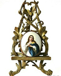 Antique 19th Century Grand Tour House Altar Virgin Mary Porcelain Gilt
