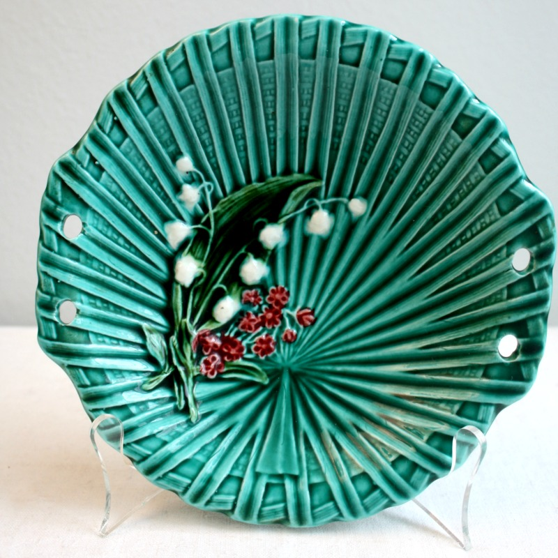 1920's Turquoise Villeroy & Boch Lily of the Valley Majolica Bowl