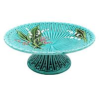 1920's Turquoise Villeroy & Boch Lily of the Valley Majolica Cake Stand
