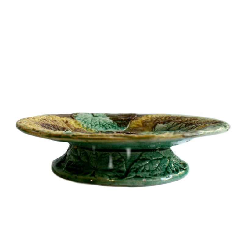 Antique 19th Century Majolica Footed Compote