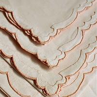 Vintage Madeira Scalloped Linen Placemats and Napkins Graceful Apricot Set 4