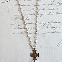 Vintage Mother of Pearl Cross Necklace Oval