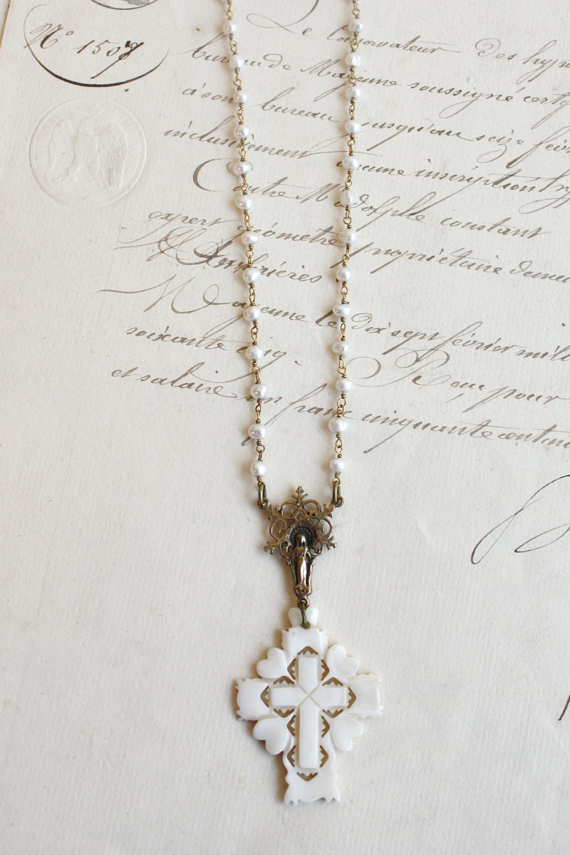 Vintage Mother of Pearl Cross Necklace