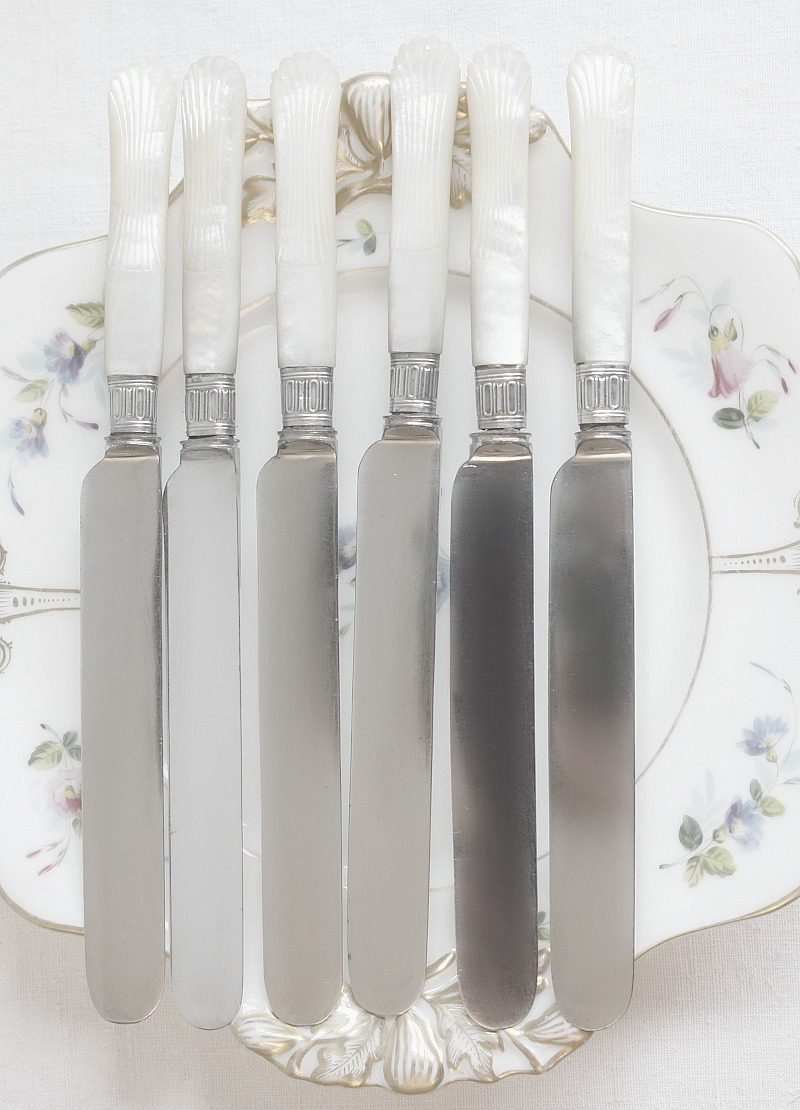 Antique 19th Century Mother 0f Pearl & Silver Knives Set of 6