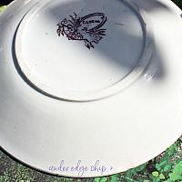 Antique Staffordshire Purple Transfer Tea Bowl and Saucer