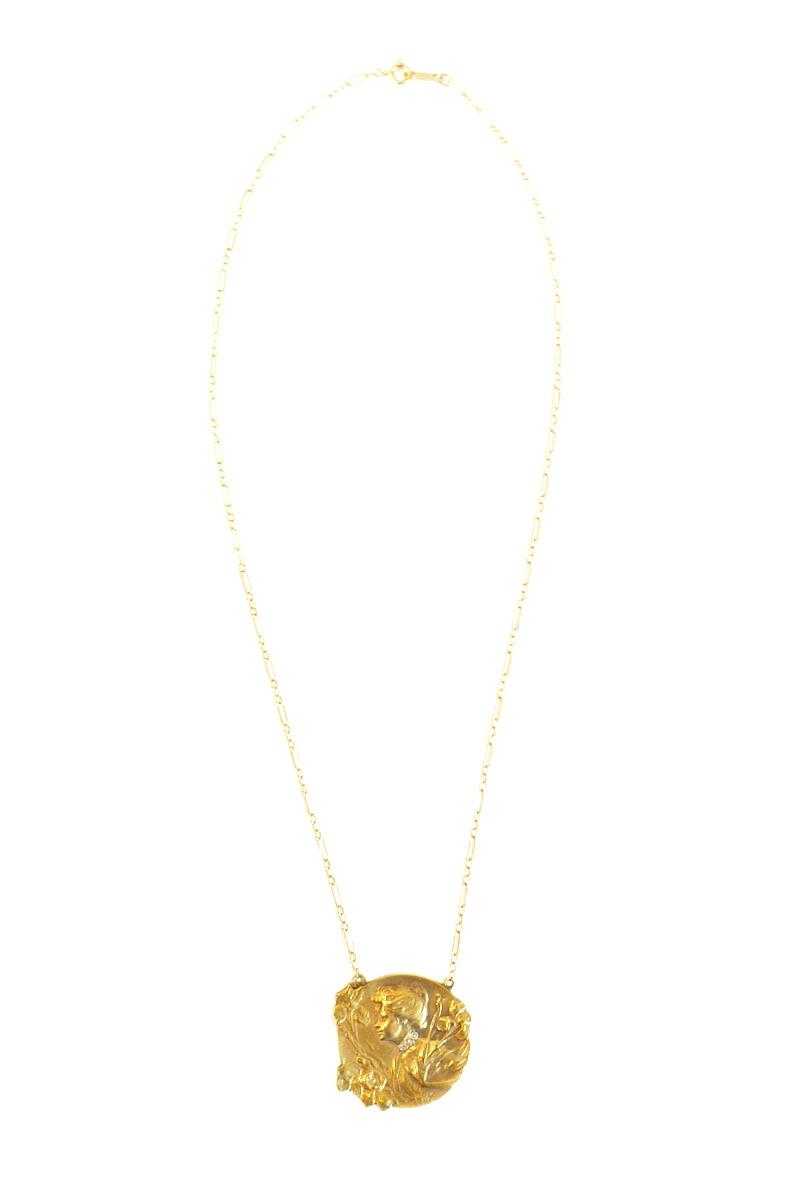 Estate Art Nouveau 14k Gold Necklace with Diamonds
